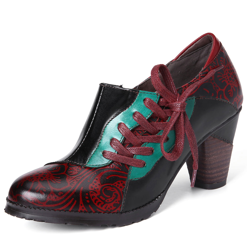 cozyrex,Women Genuine Leather Stitching Retro Pumps,CozyRex,
