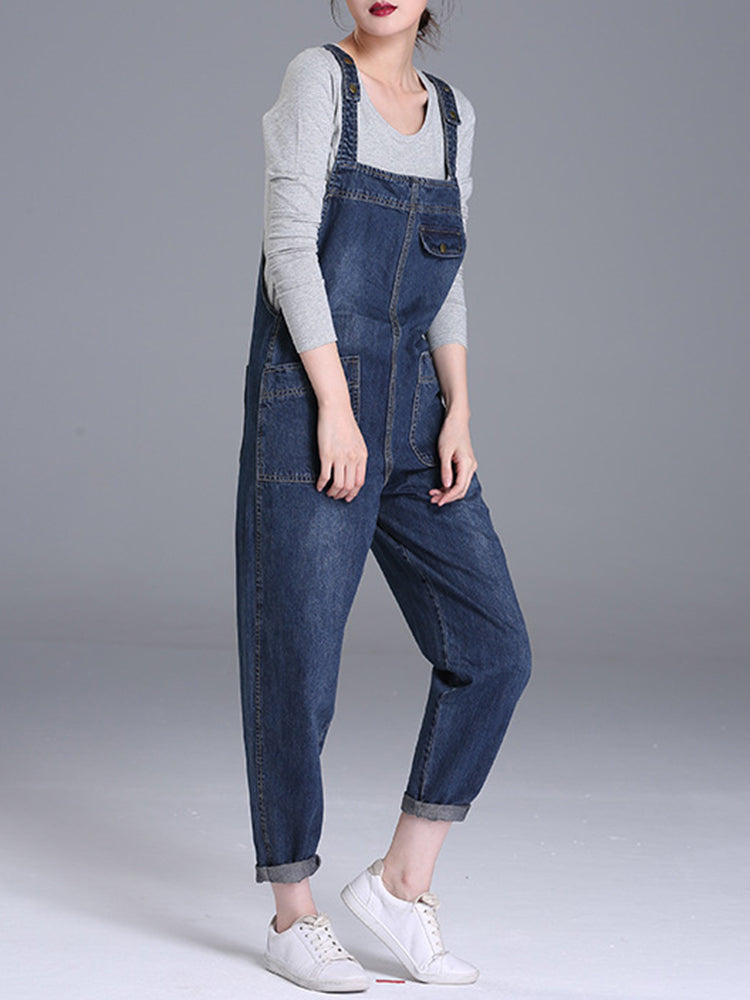 cozyrex,S-6XL Casual Women Denim Pockets Jumpsuit Playsuit,CozyRex,
