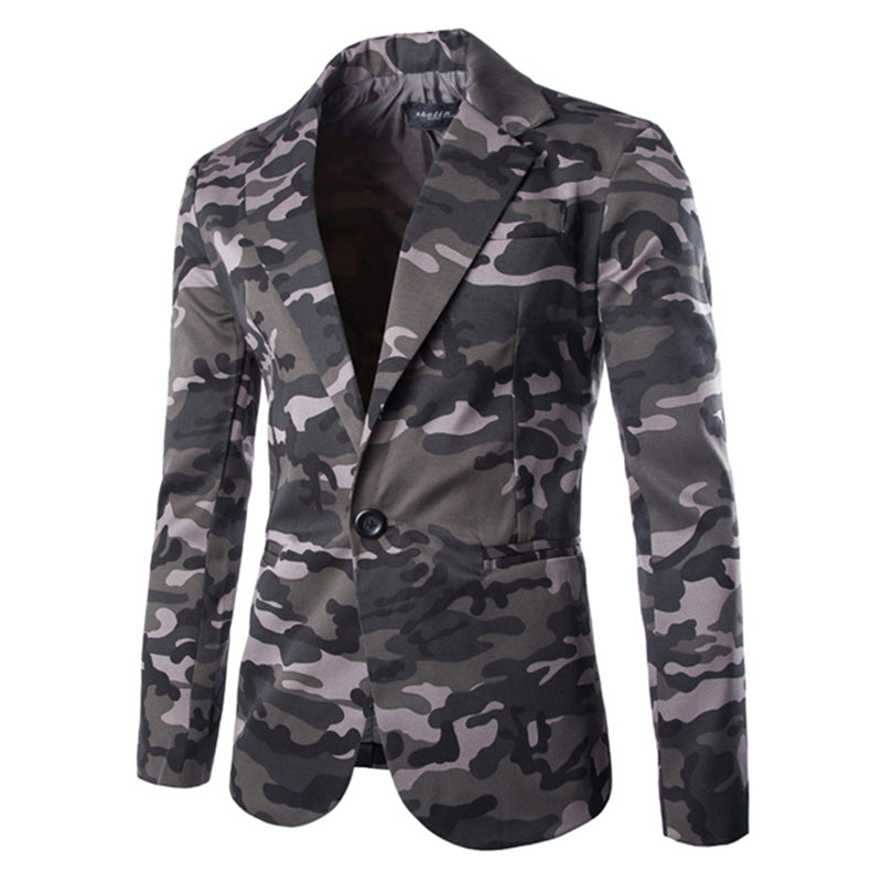 Mens Fashion Camouflage Printing Single Breasted Slim Suits