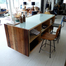 Glass and recycled wood sales counter or reception desk
