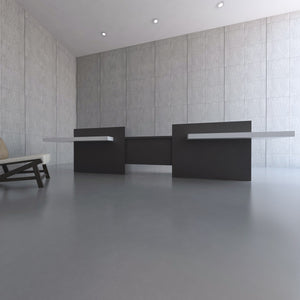 This sleek yet bold reception counter or reception desk has a modern look with a warm feel.