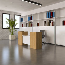 Contemporary reception desk workstation has a modern look with bold elements.