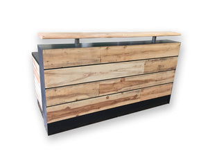 Distressed wood receptions desk Reclaimed wood reception desk
