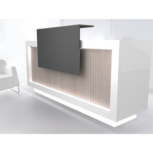 Contemporary reception desk workstation has a modern look with clean lines