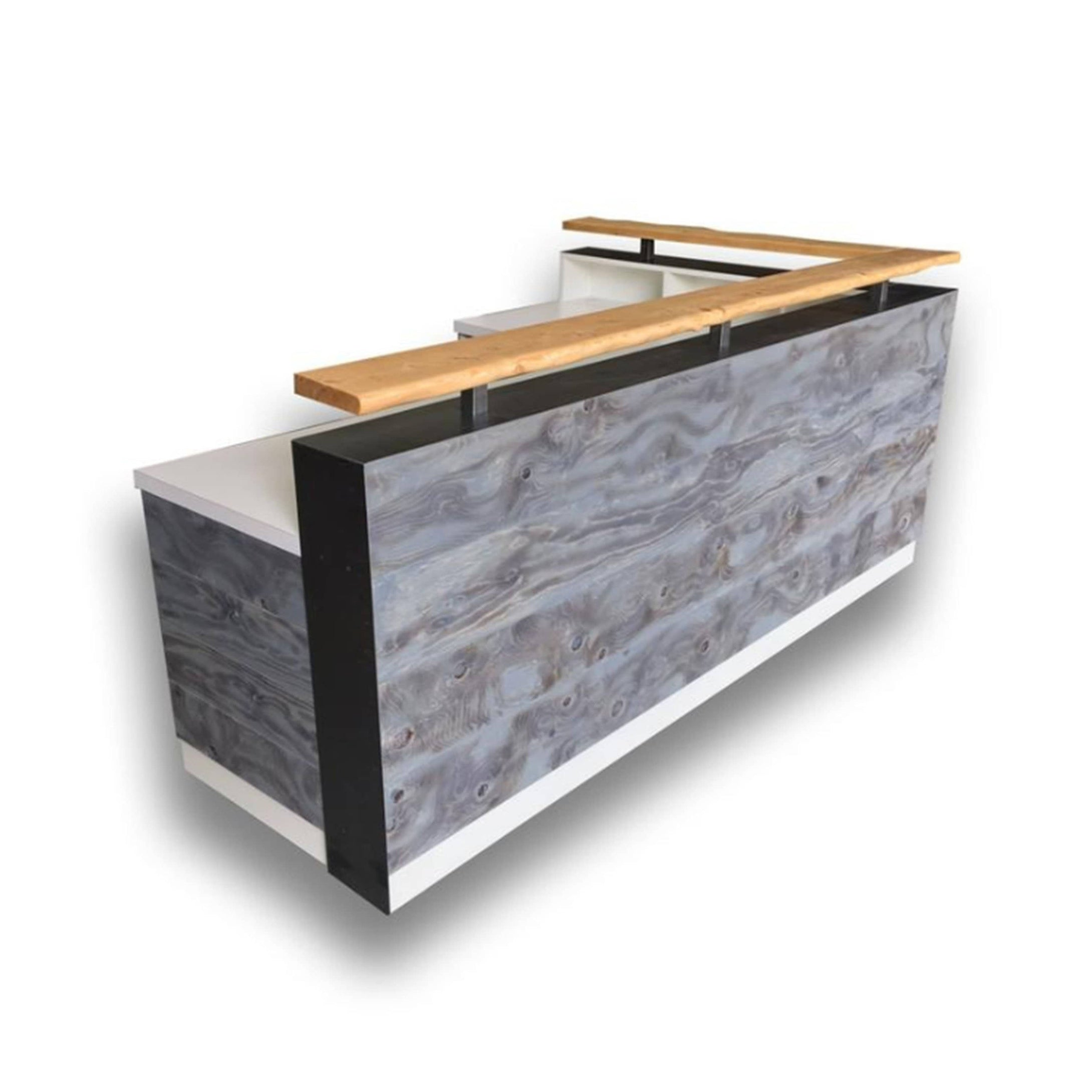 Transitional reception desk with distressed wood and live edge riser