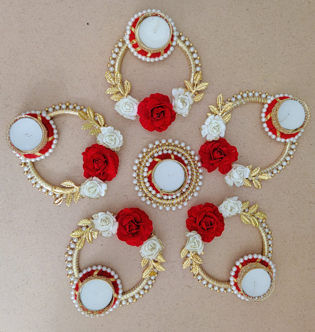 Stunning Rangoli with 5 Rings & Centrepiece along with Tea-Light Candles