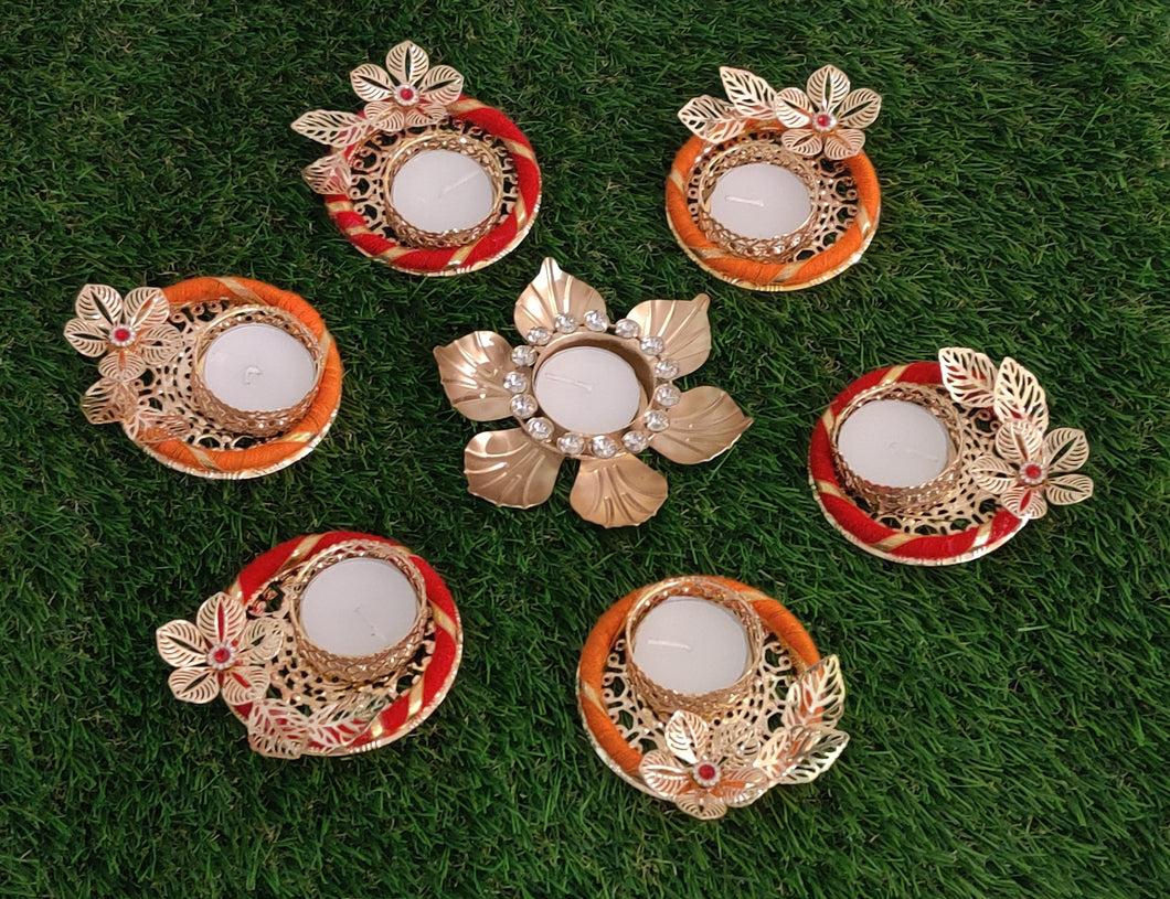 Contemporary Rangoli with Tea-Light Holders