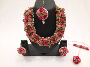 Bridal Floral Jewellery Set in shades of Pink