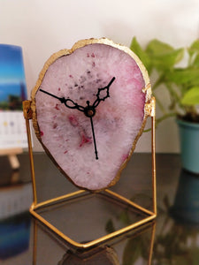 Pink Crystal Agate Table Clock