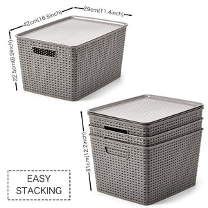 Plastic Organizer Knit Baskets -Extra Large (with Lids)