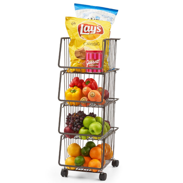 4-Tier Metal Utility Rack Cart