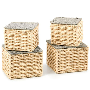 EZOWare Set of 4 Paper Rope Woven Tidy Storage Baskets with Lid, Braided Multipurpose Organiser Box Perfect for Storing Small Household Items - Beige and Gray