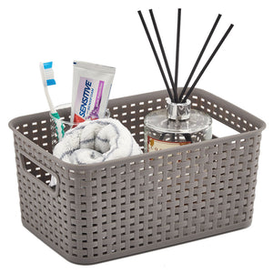 Small Gray Plastic Knit Storage Shelf Basket