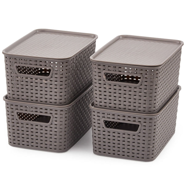 Plastic Baskets with Lid (S)- Set of 4