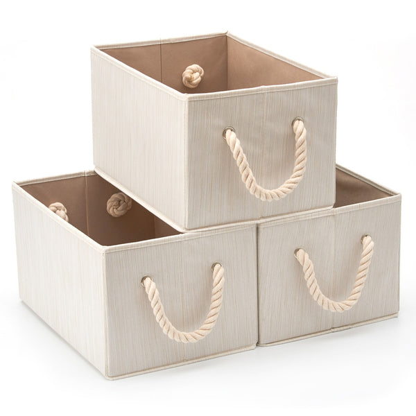 Bamboo Large Fabric Storage Bins - Beige