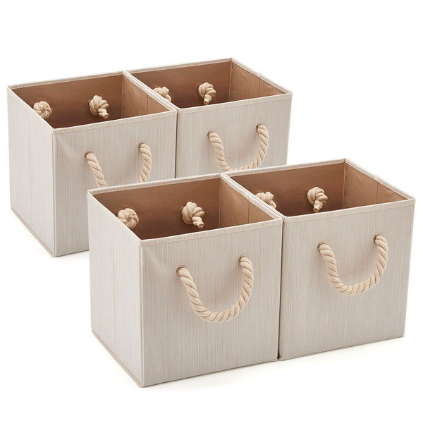 Bamboo Fabric Storage Bins -Set of 4