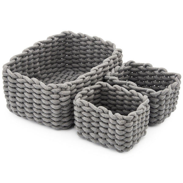 Woven Cotton Rope Baskets - Set of 3