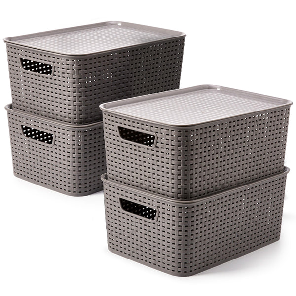 Large Plastic Baskets with Lid - Gray / (15.4 x 10.5 x 6.7 inch)
