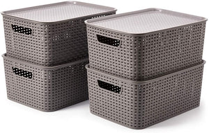 EZOWare Set of 4 Large Plastic Weaved Storage Baskets with Lids, Shelf Storage Boxes for Living Room, Office, Bathroom, Bedroom, 39 x 27 x 17 cm- Grey
