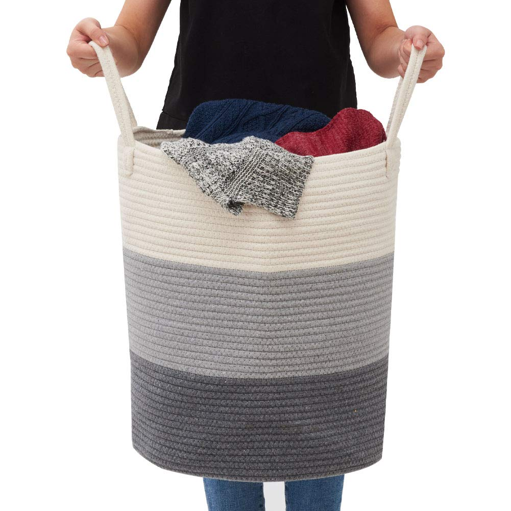 Soft Woven Storage Hamper with Handles EZOWare Large Cotton Rope Laundry Basket Gradient Gray 38 X 46 cm