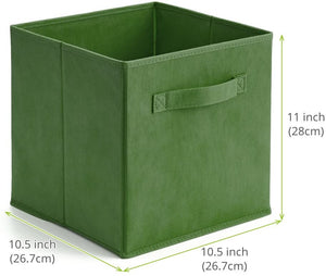 EZOWare Set of 6 Foldable Cube Storage Box, Organiser Basket Containers with Handles, for Home Office Nursery Organisation, 26.7 x 26.7 x 27.8 cm - Kale Green