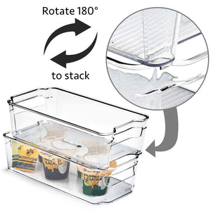 EZOWare 6 Packs Kitchen Clear Storage Organiser, Stackable Containers Basket with Handles for Refrigerator, Freezer, Pantry, Shelves- (31.5 x 16 x 9 cm) Medium
