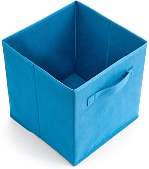 EZOWare Set of 6 Foldable Cube Storage Box, Organiser Basket Containers with Handles, for Home Office Nursery Organisation, 26.7 x 26.7 x 27.8 cm - Niagara Blue