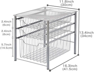 EZOWare 3 Tier Pull Out Sliding Drawer Multipurpose Storage Organiser Rack Ideal for Use Under The Sink, Bathroom, Cabinet, Office Desks, Countertop, Pantry, and Kitchen - Silver