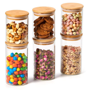 Bamboo Glass Jar Canister Set