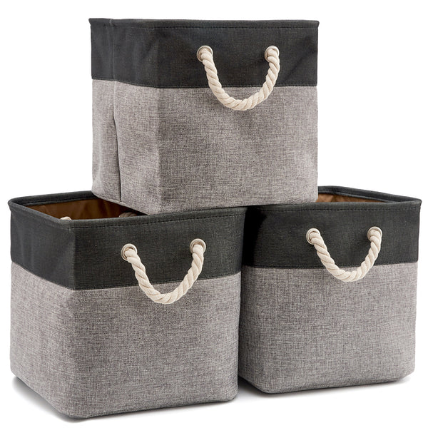 Canvas Tweed Storage Cubes Set of 3