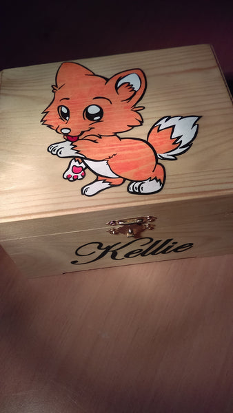 "CF- rare collectible "" fox "" trinket box, womens jewelry box, present, gift, stash box"