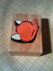 "rare collectible "" fox with rose 2 "" trinket box, vintage, womens jewelry box, stash box"