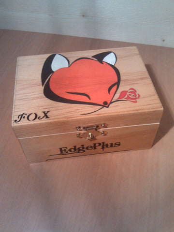 "rare collectible "" fox with rose 3 "" trinket box, womens jewelry box, present, gift, stash box"