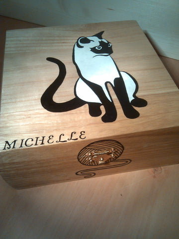 "rare hand made collectible "" Siamese cat "" trinket box 2"
