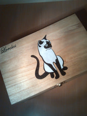 "rare hand made collectible "" Siamese cat "" trinket box 3"
