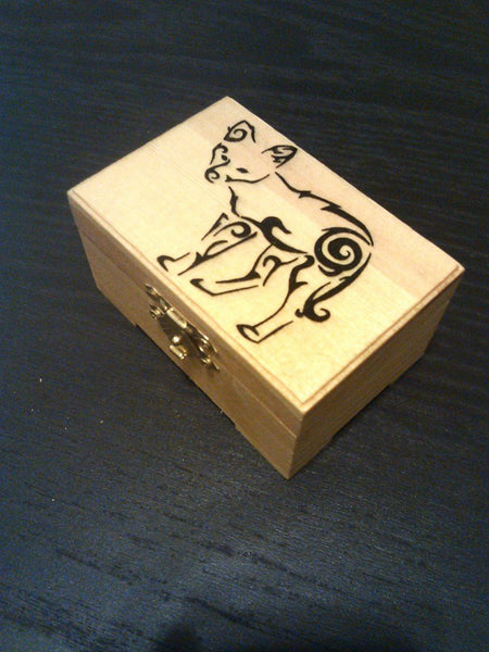 "rare hand made collectible "" coyote"" trinket box"