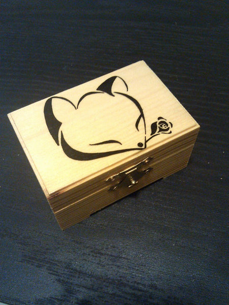 "rare hand made collectible "" fox with rose "" trinket box"