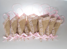Load image into Gallery viewer, 12 pcs/set Burlap Cone Decoration with Light Pink Lace, Rustic Country Wedding Decor,Basket Pew Cone Wall Organizer, Barn Wedding