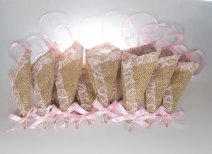 12 pcs/set Burlap Cone Decoration with Light Pink Lace, Rustic Country Wedding Decor,Basket Pew Cone Wall Organizer, Barn Wedding