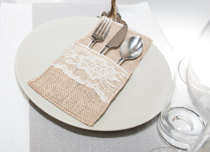 12 pcs Burlap Wedding Tableware Pouch Cutlery Holder, Rustic Wedding Decor, Vintage Wedding Decoration