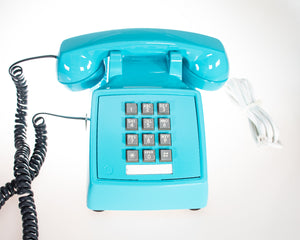 Vintage Push Buttons Phone in Ocean Aqua Blue Glossy Finish Tone Mode Restored in California in 2019