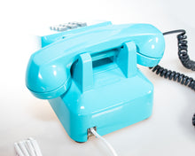 Load image into Gallery viewer, Vintage Push Buttons Phone in Ocean Aqua Blue Glossy Finish Tone Mode Restored in California in 2019