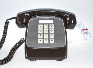 Vintage Brown Phone with Push Buttons and Twisted Handset Cord