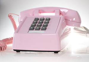 Vintage Pink Phone Push Buttons with Pink Twisted Handset Cord