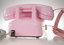Load image into Gallery viewer, Vintage Pink Phone Push Buttons with Pink Twisted Handset Cord