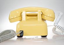 Load image into Gallery viewer, Vintage Rotary Dial Phone Canary Yellow & White Accent Equipped with Twisted Handset Cord