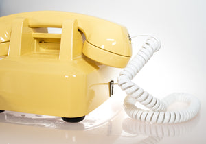 Vintage Rotary Dial Phone Canary Yellow & White Accent Equipped with Twisted Handset Cord