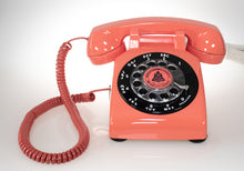 Load image into Gallery viewer, Vintage Rotary Dial Phone in Coral Red & Black Accent with Twisted Handset Cord