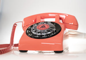 Vintage Rotary Dial Phone in Coral Red & Black Accent with Twisted Handset Cord