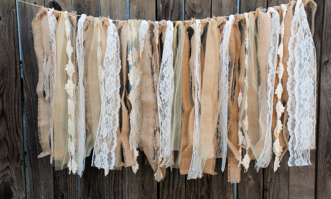 Wedding Burlap Lace Tulle Garland, Burlap Wedding Decor, Burlap Banner